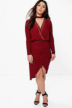 Plus Lana Wrap Front Stud V Neck Midi Dress