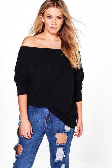Black Plus  Off The Shoulder Knitted Jumper