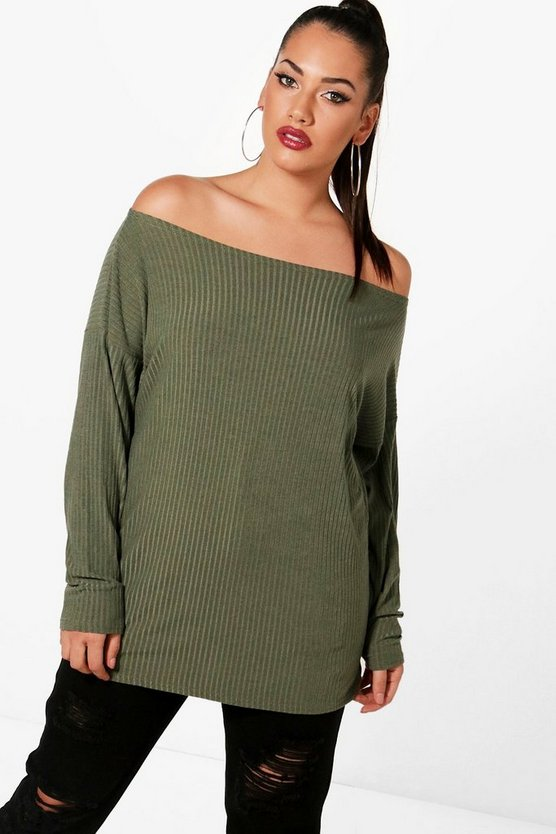 Plus Off The Shoulder Knitted Jumper
