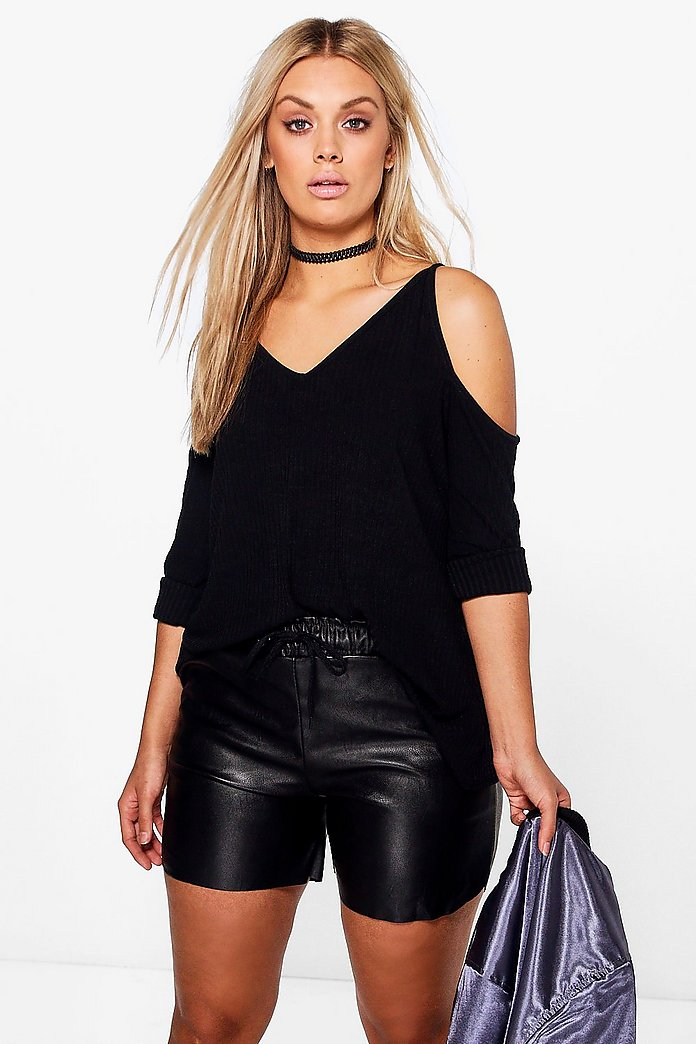 Plus Amy Knitted Open Shoulder Jumper