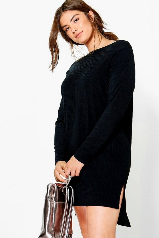 Plus Emily Slash Neck Knitted Tunic