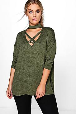 Plus Sadie Cross Front Knitted Jumper