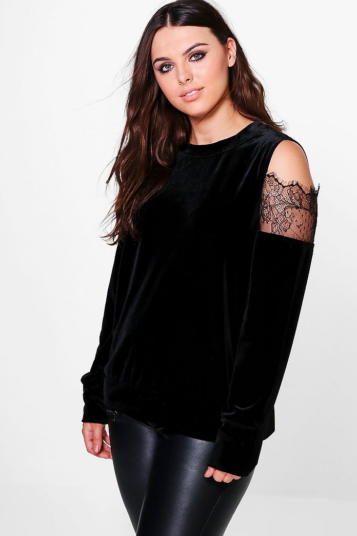 Plus Georgie Velvet Cold Shoulder Top