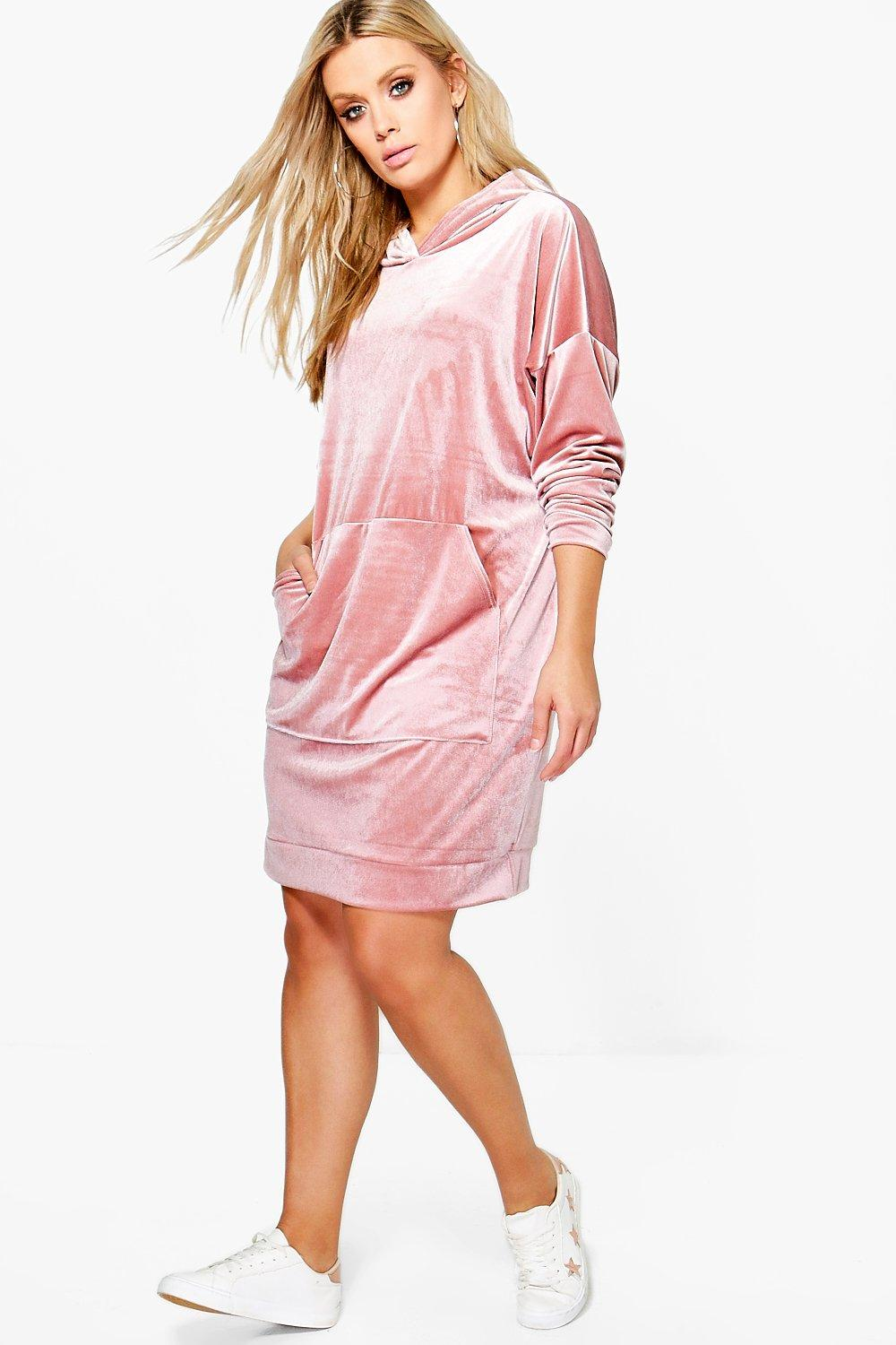 Plus Katy Velvet Hoody Dress