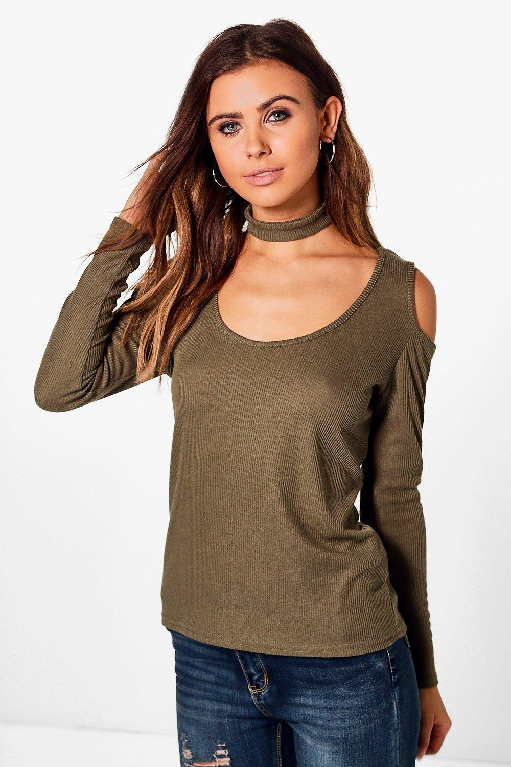 Petite Saskia Choker Rib Knit Cold Shoulder Top