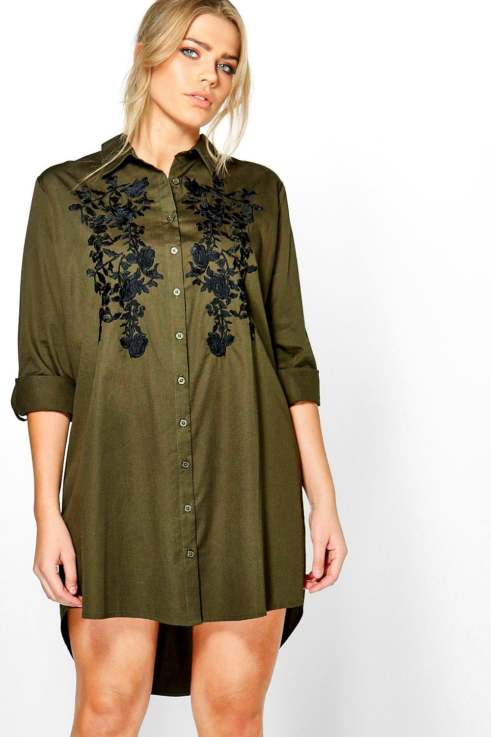 Abigail Embroidered Front Shirt Dress  khaki