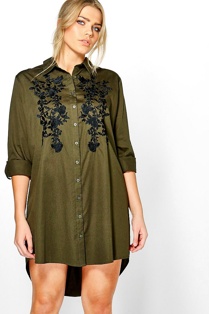 Plus Abigail Embroidered Front Shirt Dress
