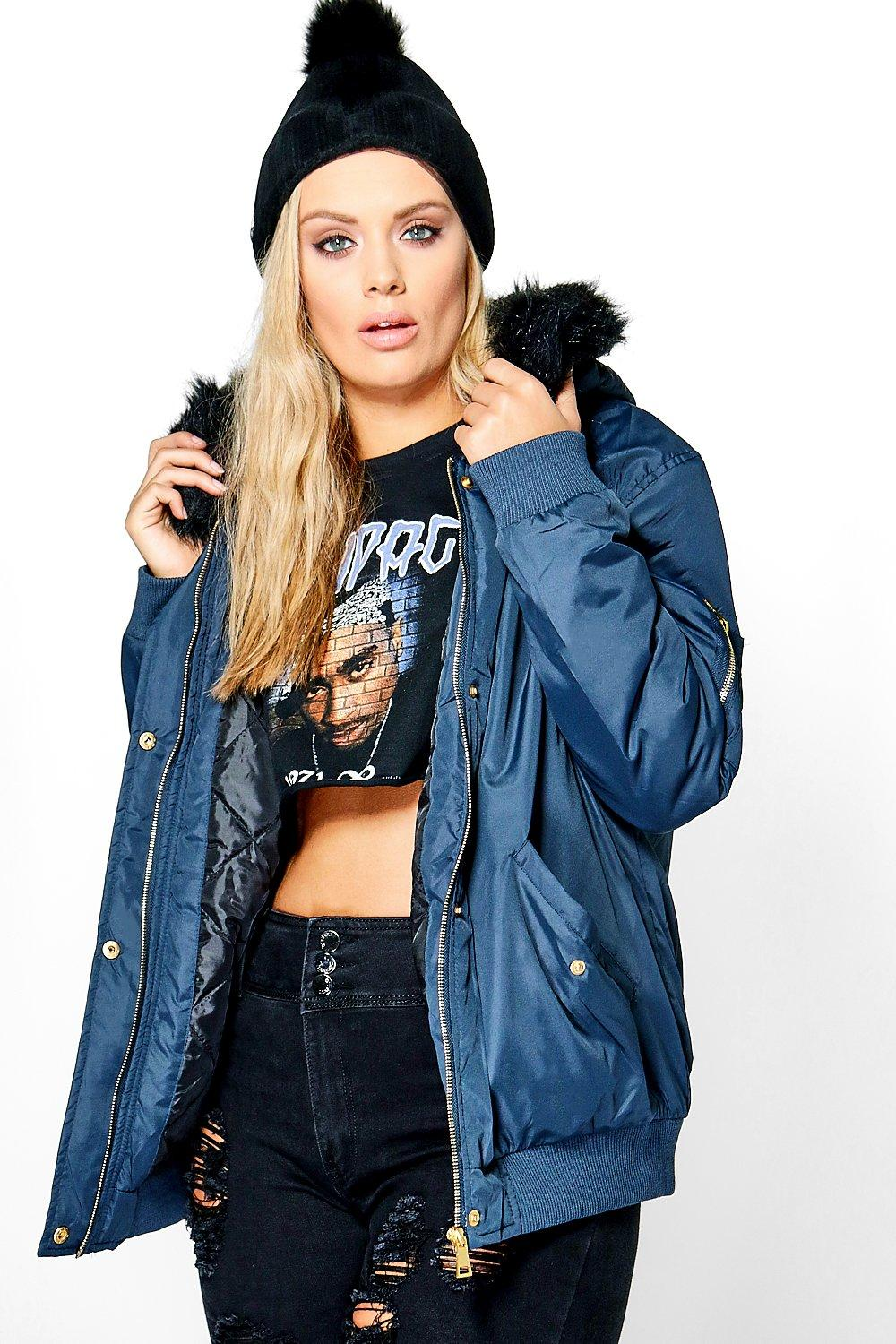 Plus Louise Bomber Jacket With Faux Fur Hood