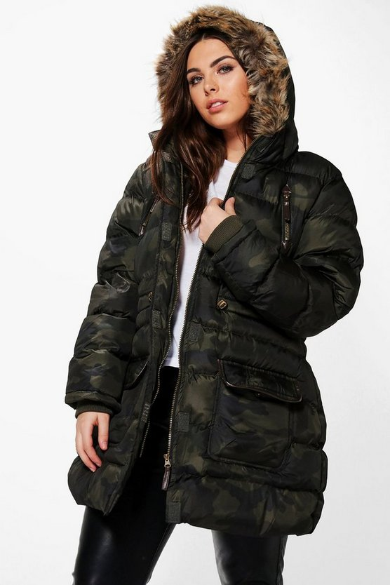 Plus Mila Camo Parka With Faux Fur Hood