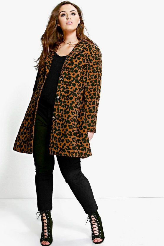 Plus Caitlin Animal Wool Look Coat
