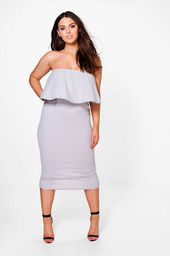 Plus Ella Bandeau Ruffle Midi Dress