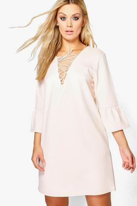 Plus Emily Flute Sleeve Lace Up Shift Dress