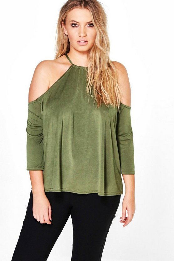 Plus Jane Slinky Cold Shoulder Top
