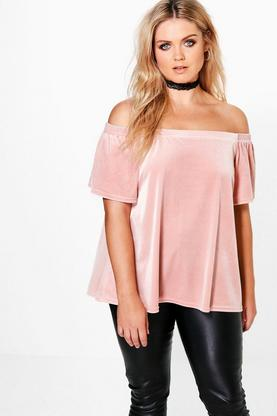Plus Megan Off The Shoulder Velvet Top