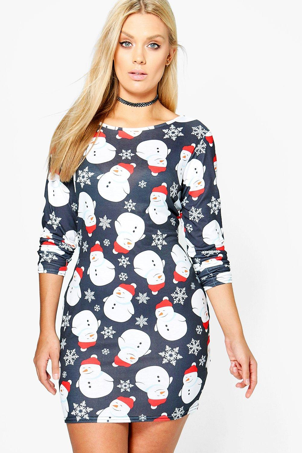 Plus Emma Snowman Christmas Bodycon Dress