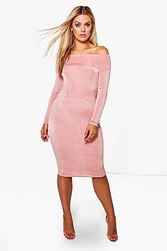 Plus Jodie Slinky Off The Shoulder Midi Dress