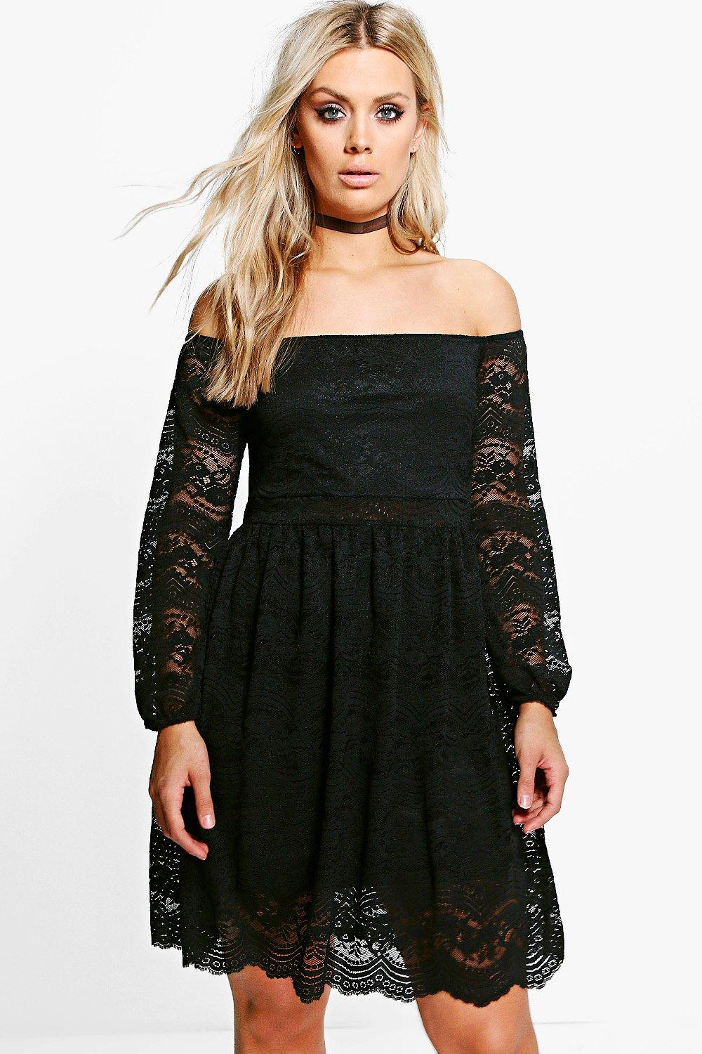 Plus Tammy Lace Off The Shoulder Waisted Dress