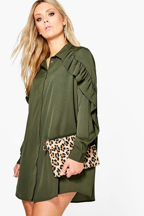 Plus Jessie Ruffle Sleeve Shirt Dress