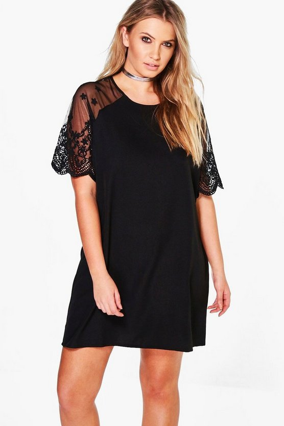 Plus Lyia Lace Sleeve Shift Dress