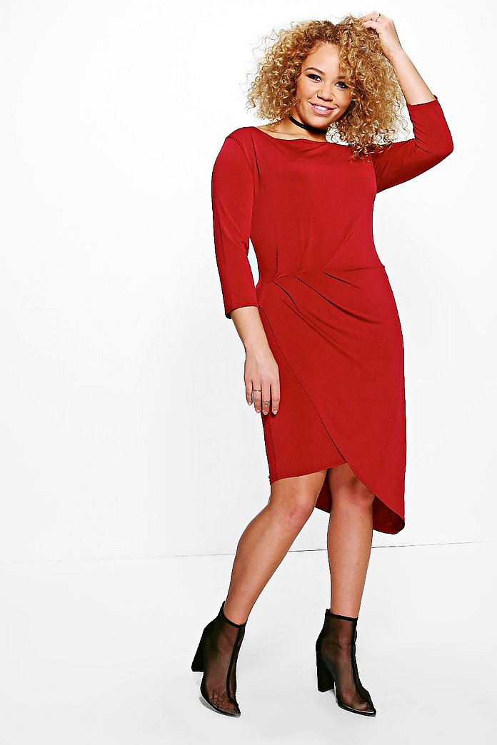 Plus Nina Slinky Rouched Wrap Midi Dress
