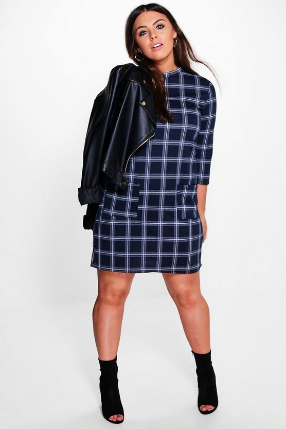 Plus Sylvia Check Pocket 3/4 Sleeve Shift Dress