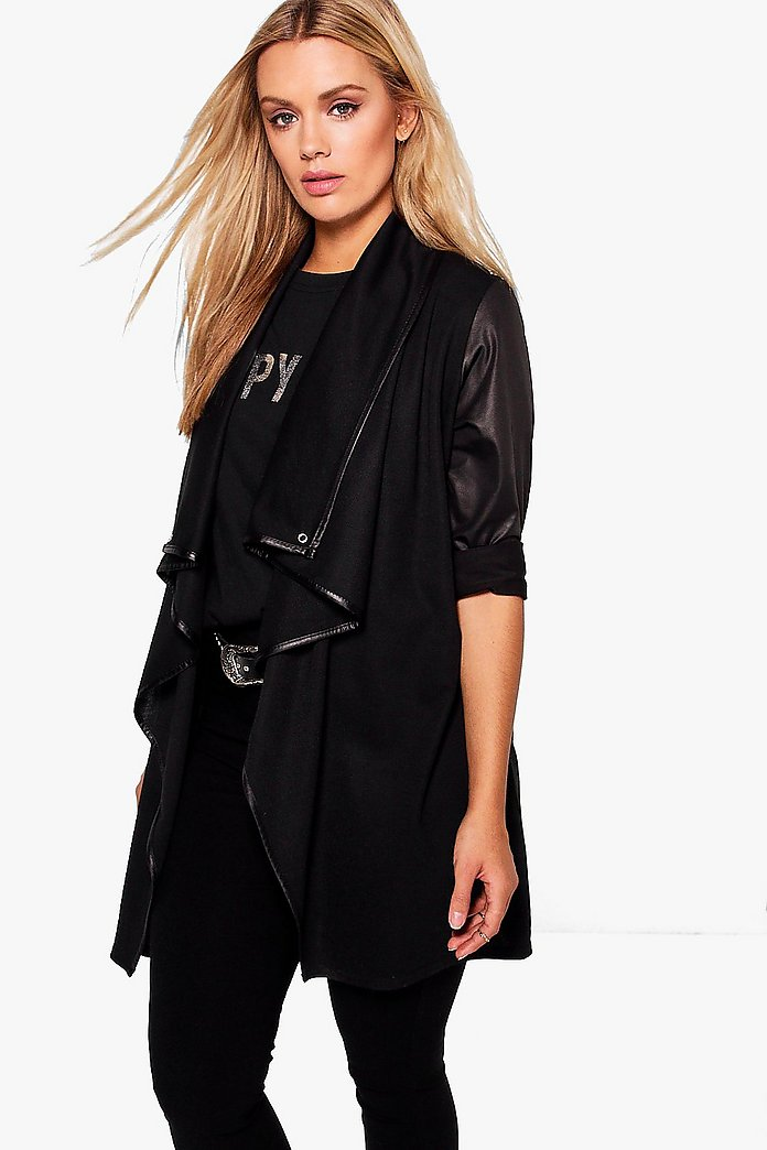 Plus Malin Contrast Trim Waterfall Duster