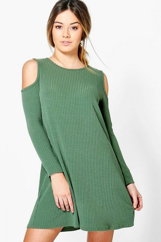 Petite Hannah Cold Shoulder Soft Rib Knit Swing