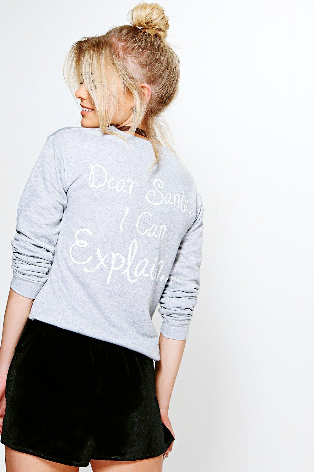 Petite Beth Raw Hem Christmas Slogan Sweat