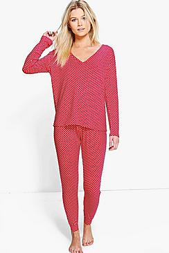 Petite Joanna Polka Dot Long Sleeve Pyjama Set