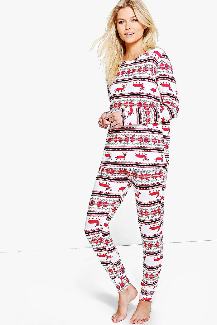 Petite Jayne Fairisle Long Sleeve Pyjama Set