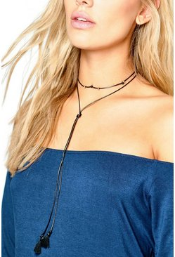 Plus Evelyn Tie Choker With Beads