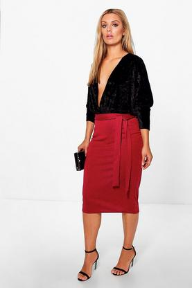 Plus Sara Tie Waist Midi Skirt