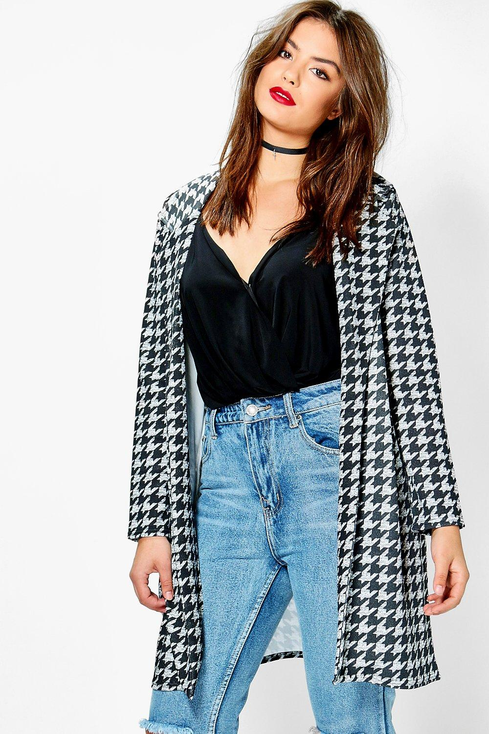 Plus Anna Dogtooth Duster Coat