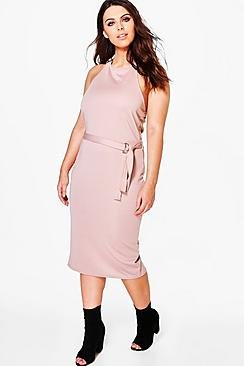 Plus Amelia halter Neck Tie Waist Bodycon Dress