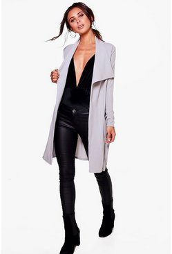 Petite Kourt D Ring Belted Waterfall Duster