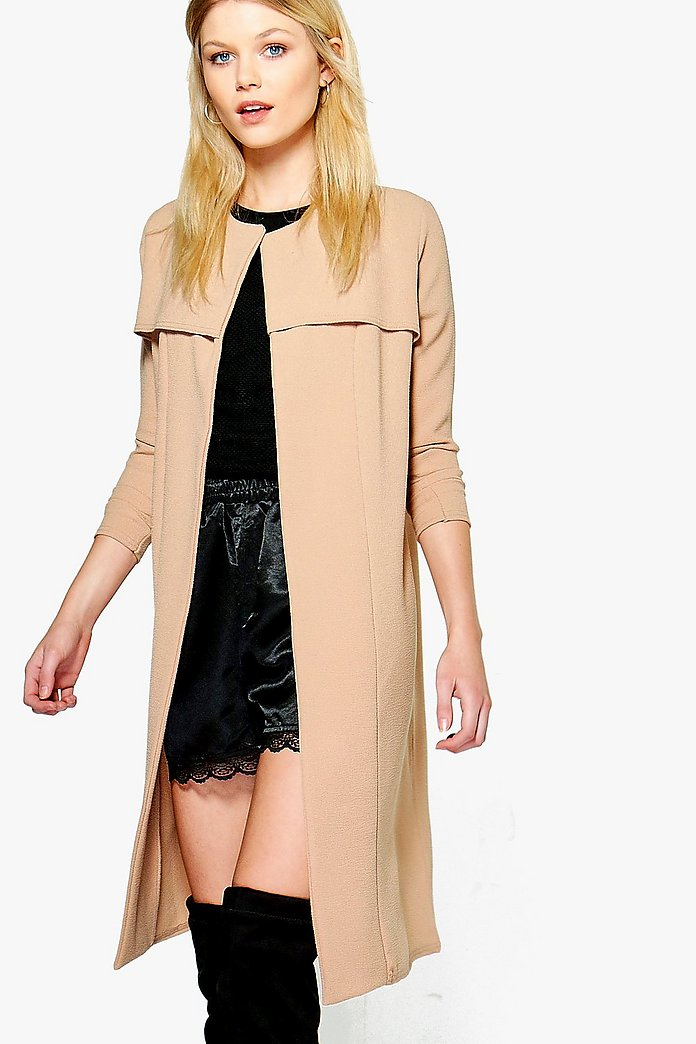 Petite Kim Collarless Duster Jacket