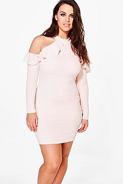 Plus Ava Crepe Ruffle High Neck Bodycon Dress