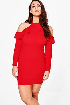Plus Ava Crepe Ruffle High Neck Bodycon Dress