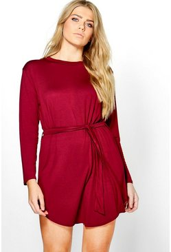 Plus Teresa Tie Waist Long Sleeve T-Shirt Dress