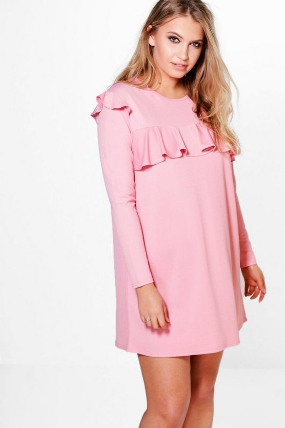 Plus Josey Ruffle Textured Shift Dress
