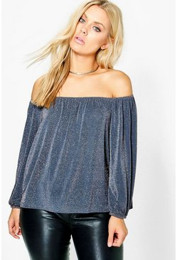 Plus Leah Shimmer Metallic Top