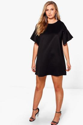 Plus Tanya Ruffle Sleeve Shift Dress