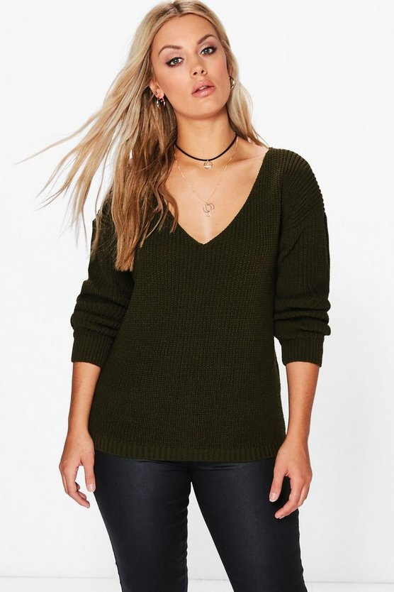 Plus Cally Oversized V-Neck Jumper