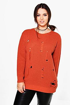 Plus Ava Distressed Knitted Jumper