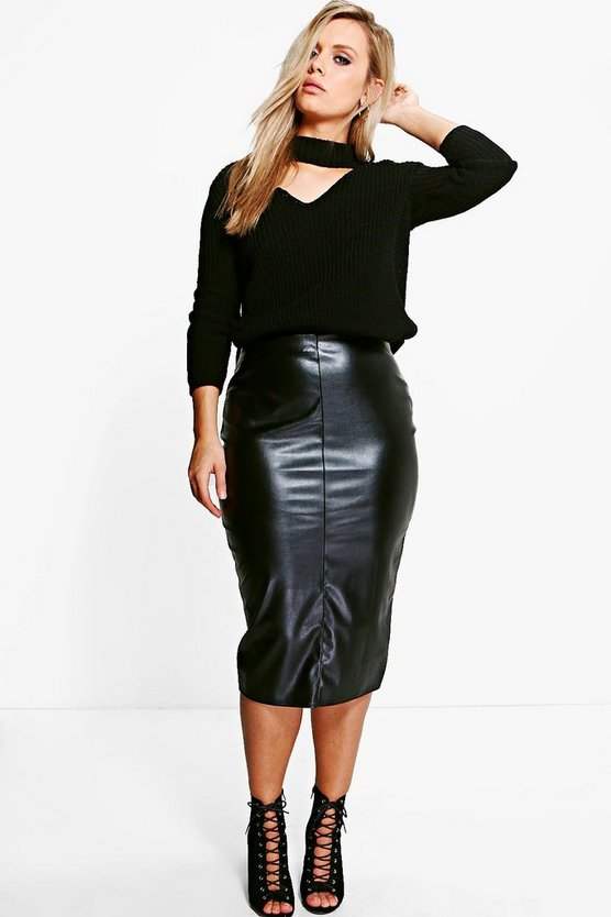 Plus Caroline PU Midi Skirt