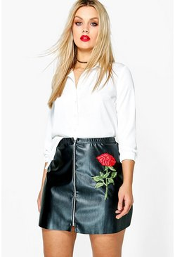 Plus Jessica PU Embroidered Mini Skirt