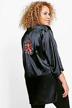Plus Esme Satin Embroidered Jacket