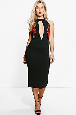 Plus Harley Embroidered Plunge Midi Dress