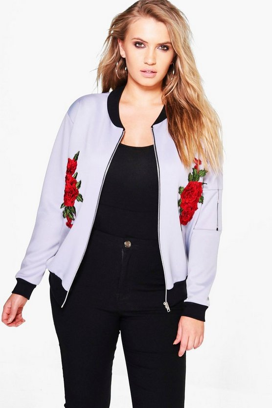 Plus Katya Embroidered Bomber Jacket