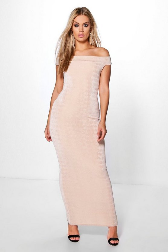 Plus Bethany Off The Shoulder Slinky Maxi Dress